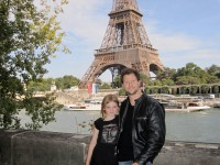 Illusionist Andy Gross with daughter Morgan Lily in Paris...