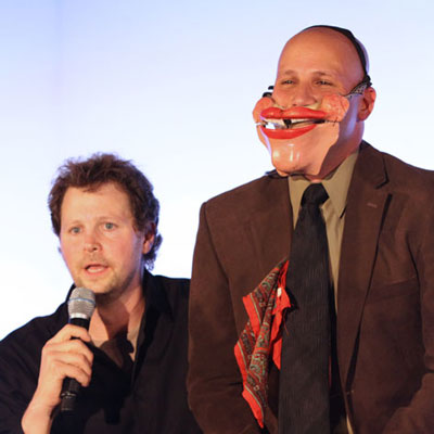 ventriloquist Andy Gross performs the human puppet routine