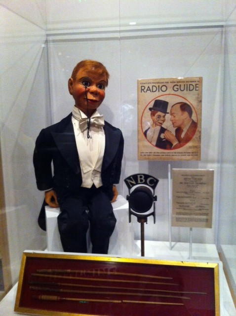 Andy Gross at the Smithsonian with Charlie McCarthy ventriloquist dummy
