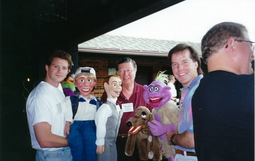 Ventriloquists Andy Gross, Jeff Dunham and Jimmy Nelson pose for a photo